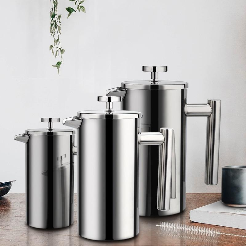 French Press Coffee Maker Stainless Steel   Zincera